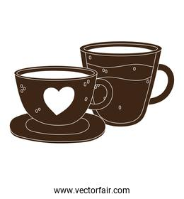 international day of coffee, ceramic and glass cups with beverage silhouette icon style