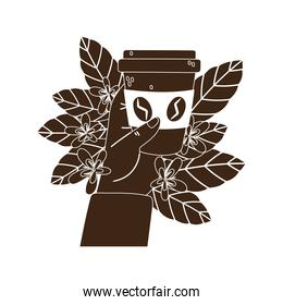 international day of coffee, hand with takeaway cup leaves and flowers card silhouette icon style