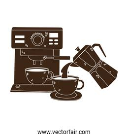 international day of coffee, machine cup and kettle pouring beverage silhouette icon style