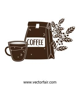 international day of coffee, package cup and branches with seeds silhouette icon style