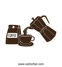 international day of coffee, kettle pouring on cup and package product isolated design silhouette icon style