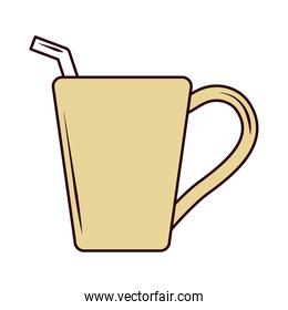 hot tea beverage with straw line and fill icon