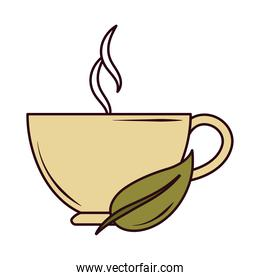 hot beverage in cup with leaf herbal line and fill