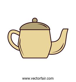 tea, teapot hot beverage with leaf line and fill