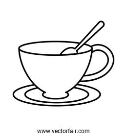 tea, cup with spoon on saucer line icon