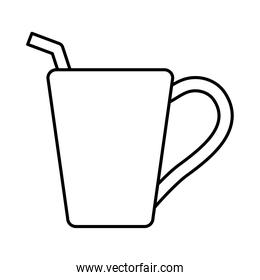 hot tea beverage with straw line icon
