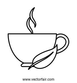 hot beverage in cup with leaf herbal line icon