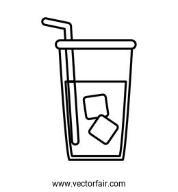 tea, herbal beverage cup and straw line icon