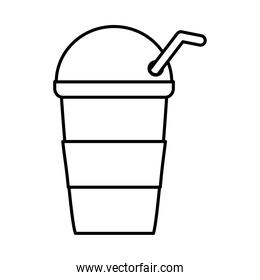 tea, cold fresh beverage takeaway cup with straw line icon