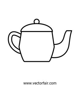 tea, teapot hot beverage with leaf line icon