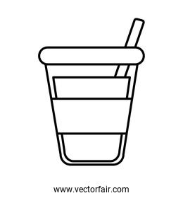 tea, disposable cup with straw beverage fresh line icon