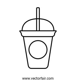 tea, takeaway disposable cup with straw line icon