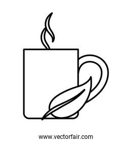 tea, cup with leaf aromatic line icon