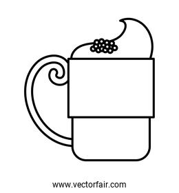 tea cup with cream and cinnamon beverage line icon