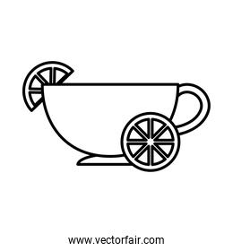 tea, cup with slice lime line icon