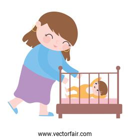 pregnancy and maternity, mom with her a baby in crib cartoon