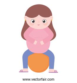 pregnancy and maternity, cute pregnant woman sitting on fitball