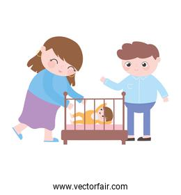 smiling mom and dad with baby in crib