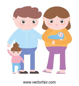 pregnancy and maternity, family dad mom baby and little daughter cartoon