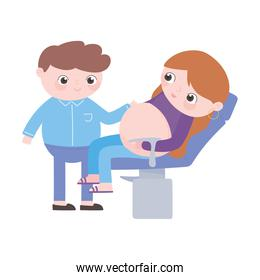 pregnancy and maternity, dad and mom in medical chair consultation