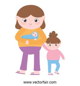 pregnancy and maternity, cute mom with baby and daughter cartoon