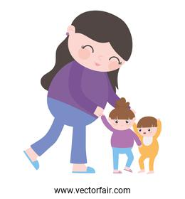 isolated cute mother with her little daughter and son cartoon