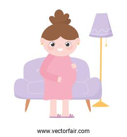 pregnancy and maternity, pregnant woman in living room cartoon