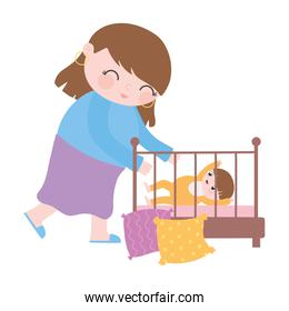 mother with baby on crib in the room