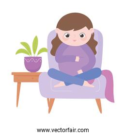 pregnancy and maternity, cute pregnant woman sitting on chair cartoon