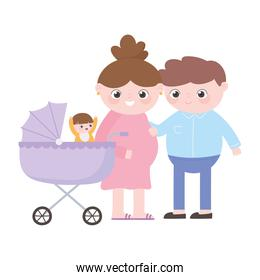 pregnancy and maternity, dad and pregnant mom with baby in pram