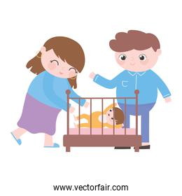 happy mom and dad with baby in crib