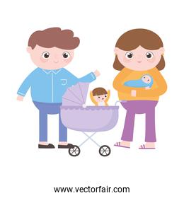 parents with baby and little boy in the pram