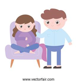 pregnancy and maternity, pregnant woman sitting on chair and husband cartoon