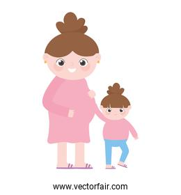 pregnancy and maternity, cute pregnant woman with little daughter cartoon