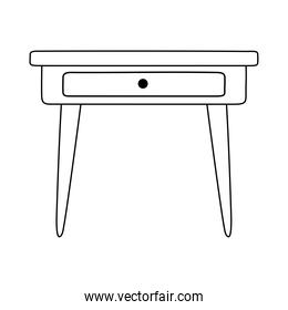 wood table with drawer furniture isolated icon style line style icon