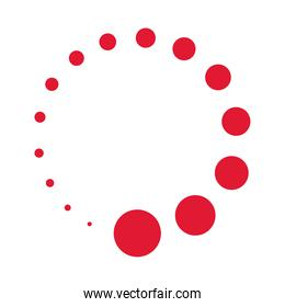 red dotted round isolated white background