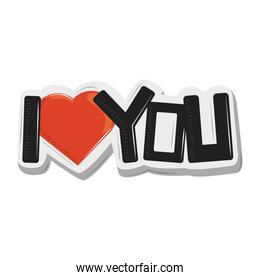 sticker i love you lettering funny cartoon design