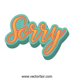 sorry letters sticker funny cartoon design