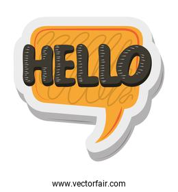 hello talk bubble sticker funny cartoon design