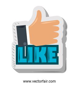 hand like approval sticker funny cartoon design