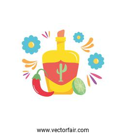 tequila bottle, lemon and red chili and flowers around, flat style