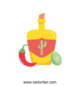 tequila bottle, lemon and red chili, flat style