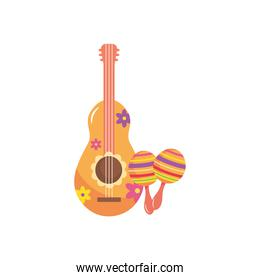 floral guitar and colorful maracas icon, flat style