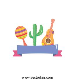 mexican maraca, guitar and cactus with decorative ribbon, flat style