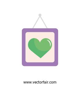 frame with green heart icon, flat style