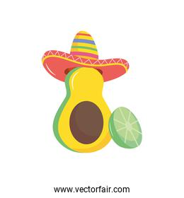 lemon and avocado with mexican hat, flat style