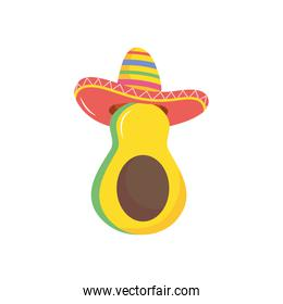 avocado with mexican hat icon, flat style