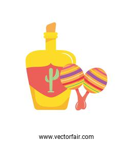 mexican tequila bottle and maracas icon, flat style