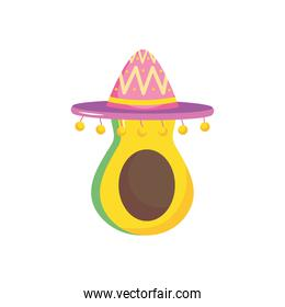 mexican hat and avocado, flat style