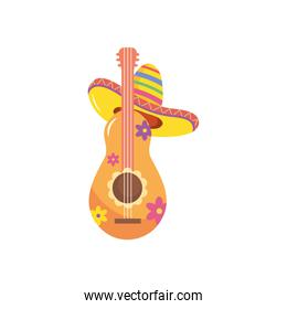 mexican hat and floral guitar, flat style